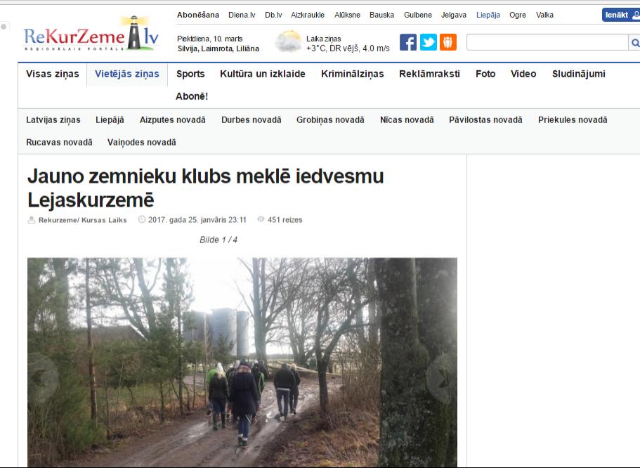 Atskats uz pieredzes apmaiņas braucienu 2017.gada janvāris, Liepāja http://www.rekurzeme.lv/vietejas-zinas/jauno-zemnieku-klubs-mekle-iedvesmu-lejaskurzeme-128147