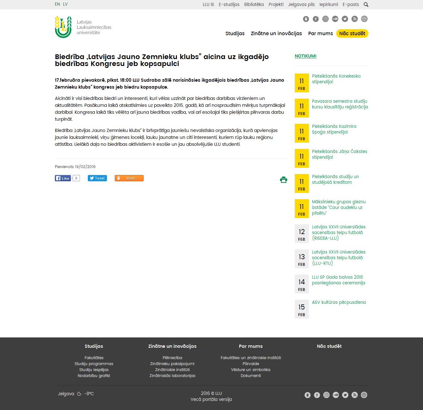 """Biedrība """"Latvijas Jauno Zemnieku klubs"""" aicina uz ikgadējo biedrības Kongresu jeb kopsapulci  http://www.llu.lv/lv/raksts/2016-02-19/biedriba-latvijas-jauno-zemnieku-klubs-aicina-uz-ikgadejo-biedribas-kongresu-jeb"""