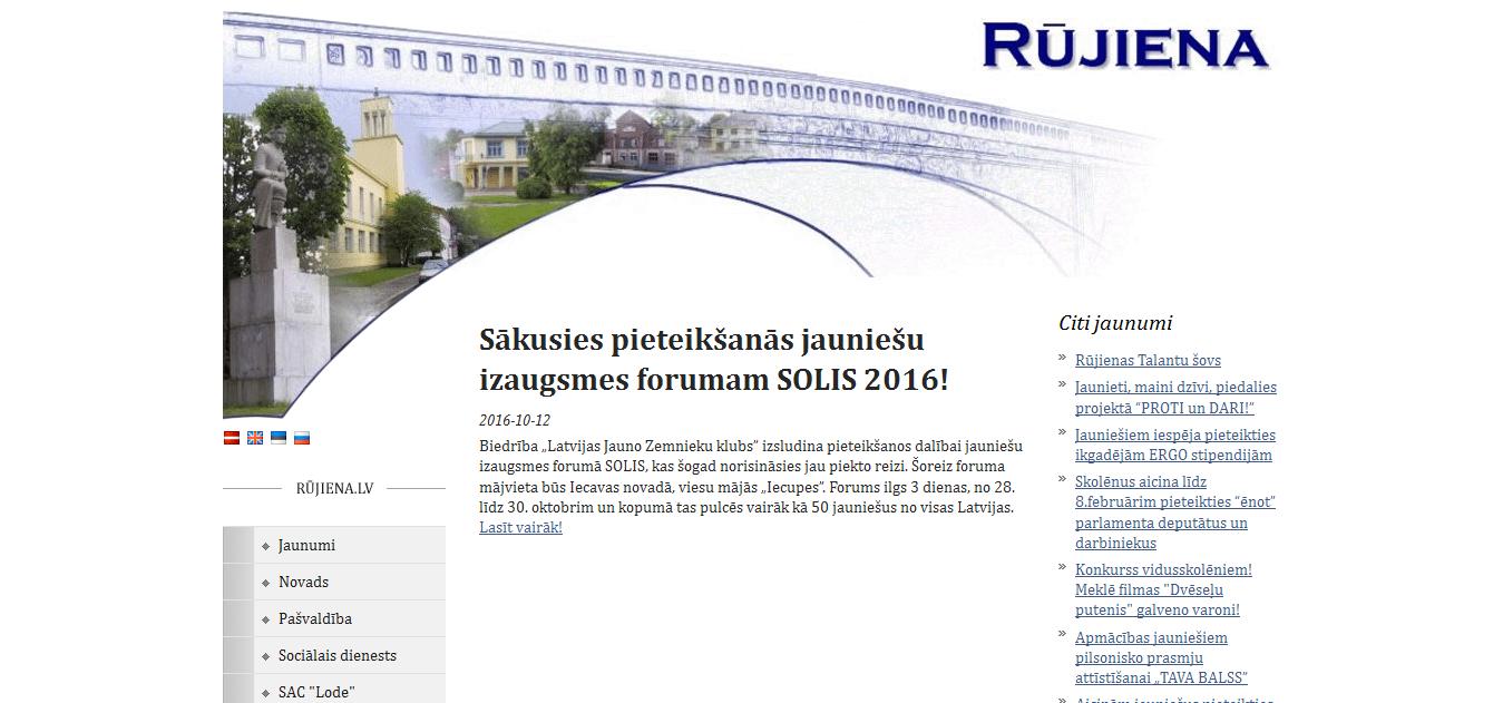 Sākusies pieteikšanās jauniešu izaugsmes forumam SOLIS 2016! http://www.rujiena.lv/public/request.php?navi=119&l=lv&p1=7&p2=3931