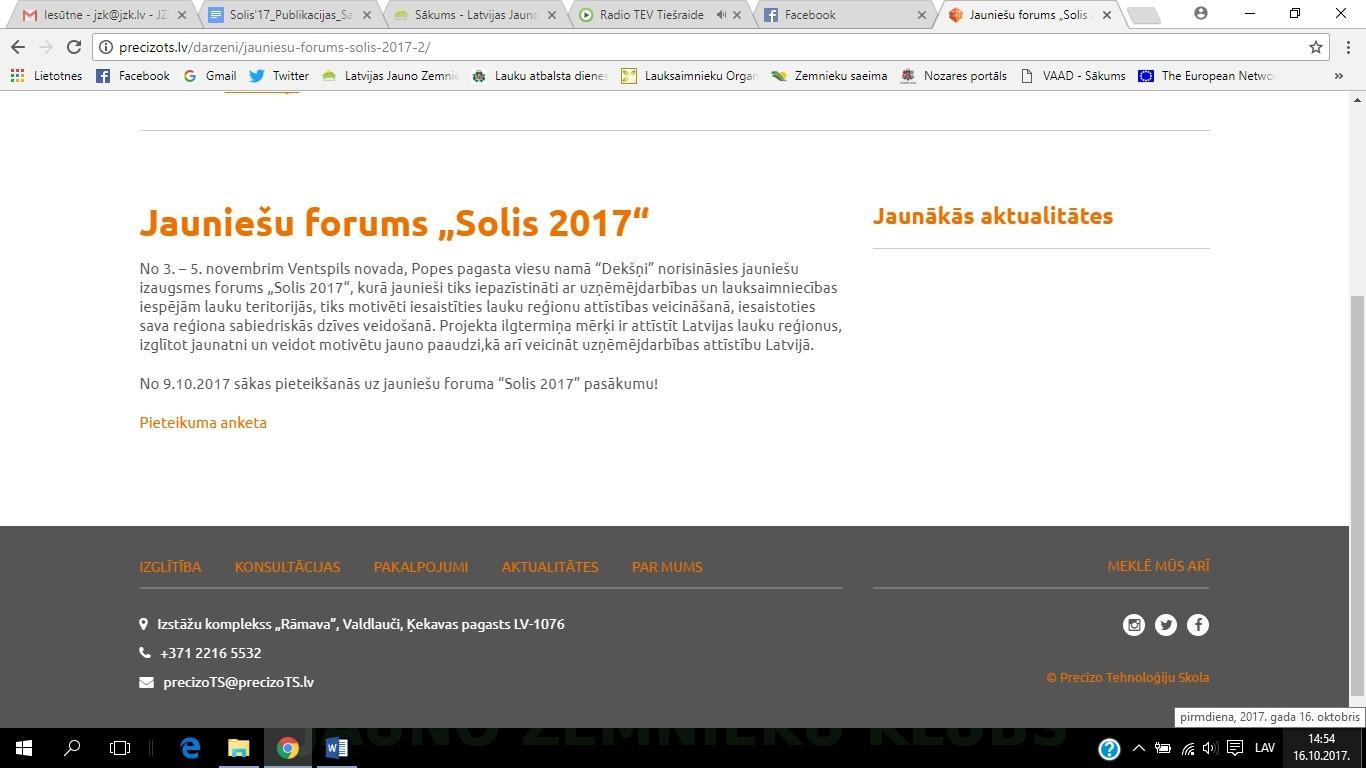 """Jauniešu forums """"Solis 2017"""" http://precizots.lv/darzeni/jauniesu-forums-solis-2017-2/"""