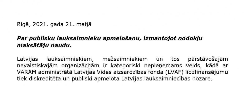 Publiska vēstule: Par publisku lauksaimnieku apmelošanu, izmantojot nodokļu maksātāju naudu.