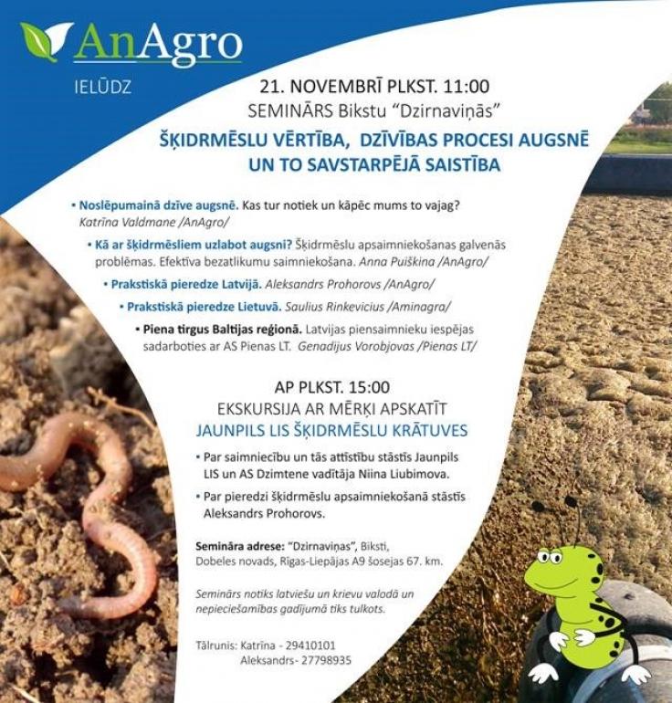 An Agro aicina uz semināru par augsni un šķidrmēsliem!