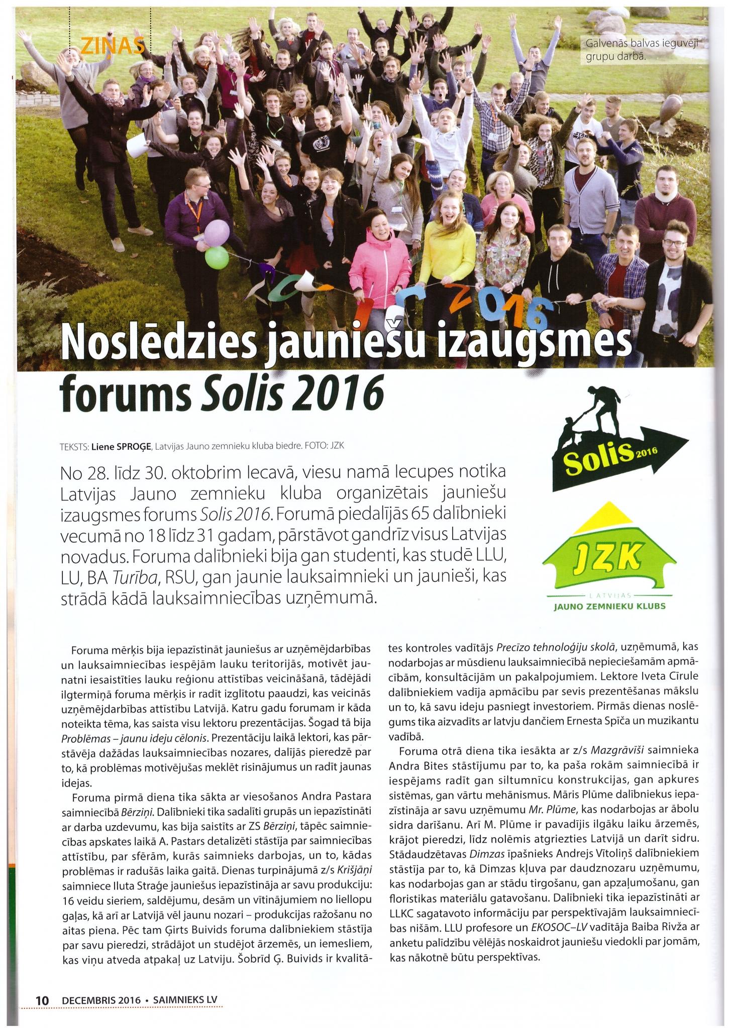Raksts par foruma Solis 2016 noslēgšanos